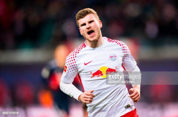 Leipzig's German forward Timo Werner celebrates scoring during the German first division Bundesliga football match between RB Leipzig and FC Bayern...