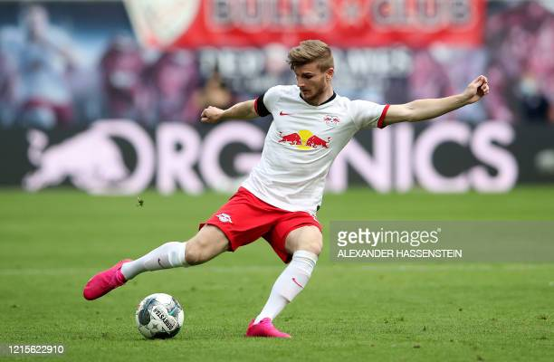Leipzig's German forward Timo Werner plays the ball during the German first division Bundesliga football match RB Leipzig v Hertha Berlin on May 27,...