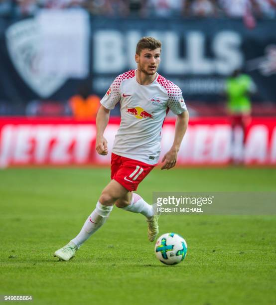 Leipzig's German forward Timo Werner plays the ball during the German first division Bundesliga football match between RB Leipzig and TSG Hoffenheim...