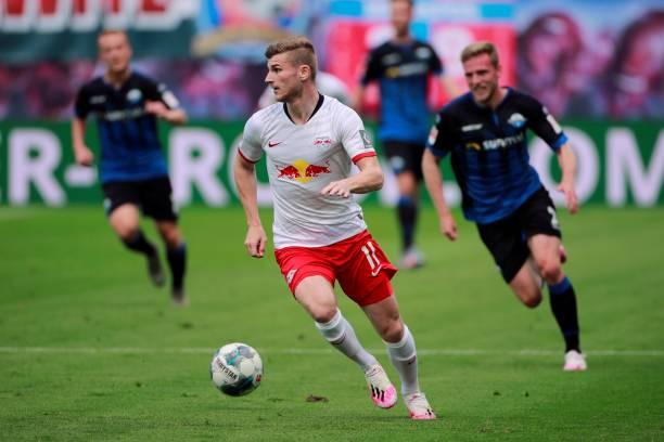 Leipzig's German forward Timo Werner runs with the ball during the German first division Bundesliga football match RB Leipzig v SC Paderborn 07 on...