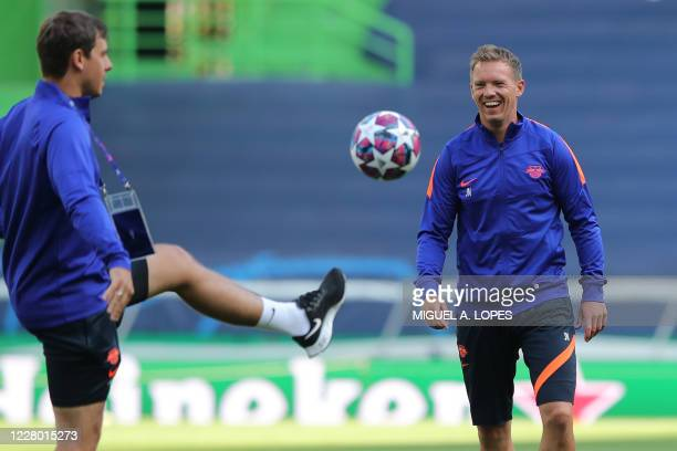Leipzig's German headcoach Julian Nagelsmann attends a training session at the Jose Alvalade stadium in Lisbon on August 12, 2020 on the eve of the...