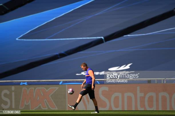 Leipzig's German headcoach Julian Nagelsmann attends a training session at the Luz stadium in Lisbon on August 17, 2020 on the eve of the UEFA...