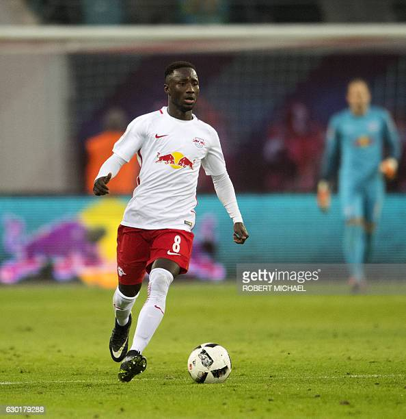 Leipzig´s Guinean midfielder Naby Deco Keita plays during the German first division Bundesliga football match between RB Leipzig and Hertha BSC...