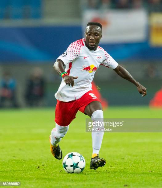Leipzig's Guinean midfielder Naby Deco Keita plays the ball during the UEFA Champions League group G football match RB Leipzig v FC Porto in Leipzig...
