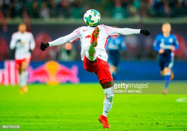 Leipzig's Guinean midfielder Naby Deco Keita plays the ball during the German first division Bundesliga football match between RB Leipzig and FC...