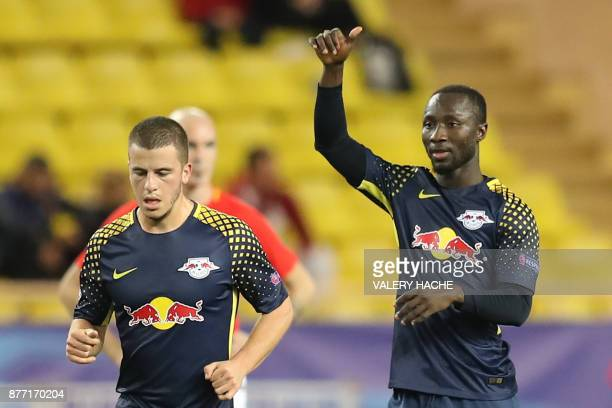 Leipzig's Guinean midfielder Naby Keita celebrates after scoring a goal during the UEFA Champions League group G football match between Monaco and...