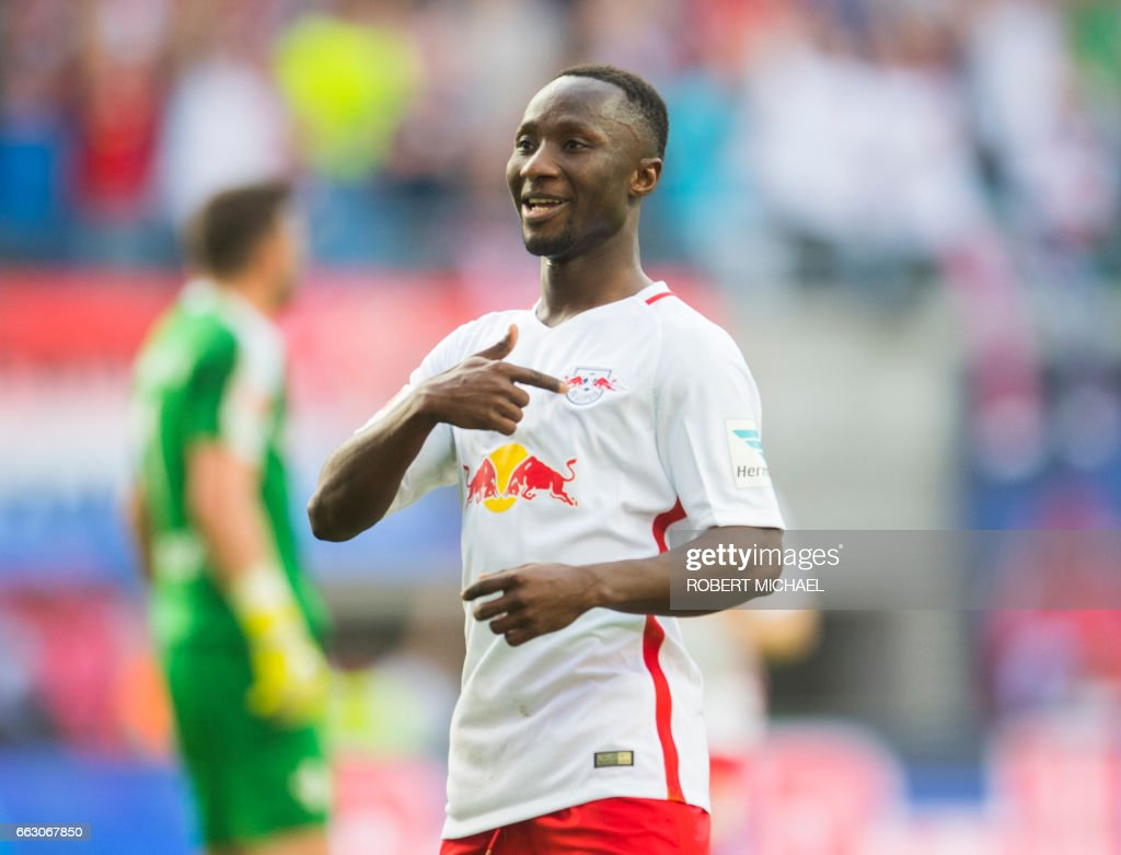 Leipzig's Guinean midfielder Naby Keita celebrates after scoring the 4-0 during the German first division Bundesliga football match between RB Leipzig and SV Darmstadt 98 in Leipzig, eastern Germany, on April 1, 2017. /