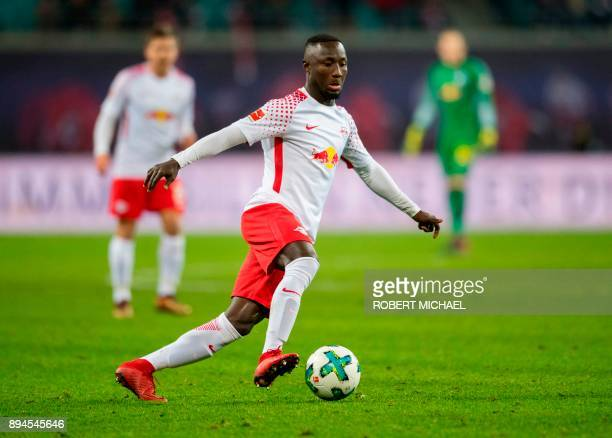 Leipzig's Guinean midfielder Naby Keita plays the ball during the German first division Bundesliga football match between RB Leipzig and Hertha BSC...
