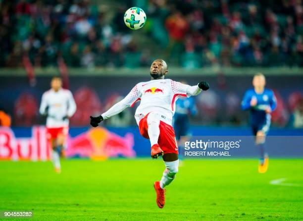 Leipzig´s Guinean midfielder Naby Keita plays the ball during the German first division Bundesliga football match between RB Leipzig and FC Schalke...
