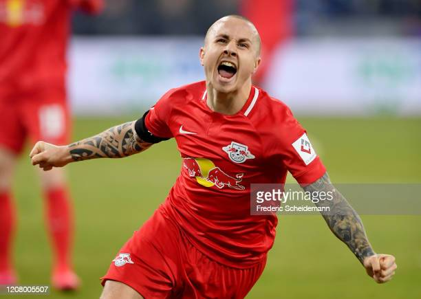 Leipzig's Jose Angelino celebrates after scoring his team's fourth goal during the Bundesliga match between FC Schalke 04 and RB Leipzig at...