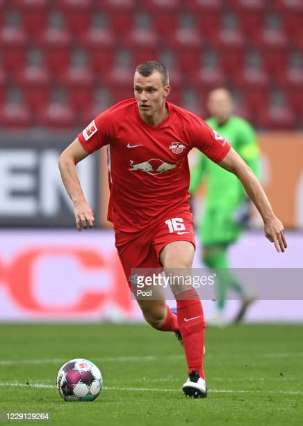 Leipzig's Lukas Klostermann in action during the German Bundesliga soccer match between FC Augsburg and RB Leipzigat WWK-Arena on October 17, 2020 in...