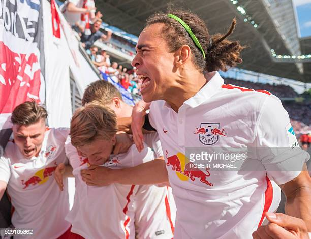 Leipzig��s Marcel Sabitzer Emil Forsberg and Yussuf Poulsen celebrate after scoring the first goal with his teammate Marcel Sabitzer during the...