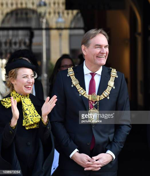 Leipzig's Mayor Burkhard Jung and his wife Ayleena photographed during the visit of the Dutch royal couple to Leipzig Germany 9 February 2017 Photo...
