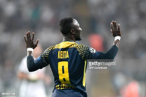 Leipzig's Naby Keita gestures during the UEFA Champions League group G football match between Besiktas and RB Leipzig at Vodafone Park stadium in...