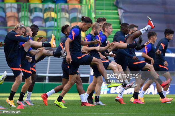 Leipzig's players attend a training session at the Jose Alvalade stadium in Lisbon on August 12, 2020 on the eve of the UEFA Champions League...