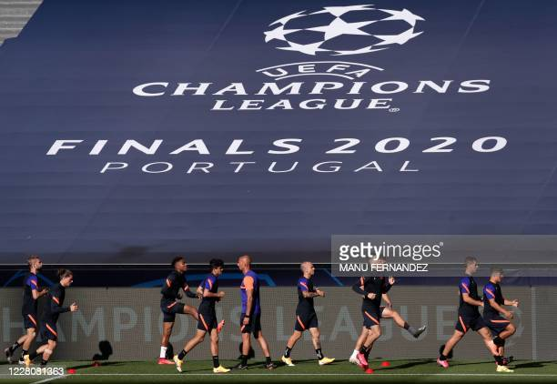 Leipzig's players attend a training session at the Luz stadium in Lisbon on August 17, 2020 on the eve of the UEFA Champions League semifinal...