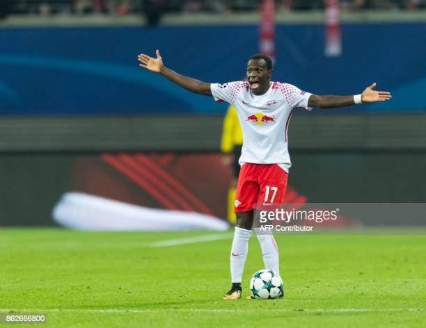 Leipzig´s Portuguese forward Bruma gestures during the UEFA Champions League group G football match RB Leipzig v FC Porto in Leipzig eastern Germany...