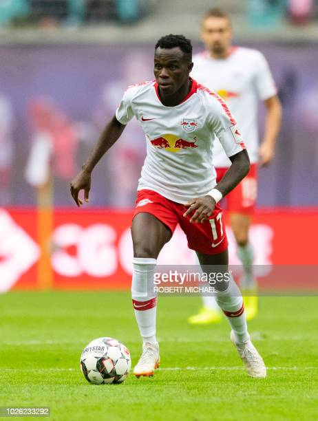 Leipzig's Portuguese forward Bruma plays the ball during the German first division Bundesliga football match RB Leipzig vs Fortuna Duesseldorf in...