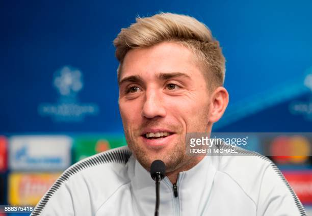 Leipzig's Slovanian midfielder Kevin Kampl attends a press conference on the eve of the UEFA Champions League football match between RB Leipzig and...
