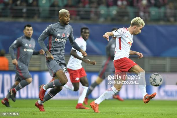 Leipzig's Slovanian midfielder Kevin Kampl controls the ball in front of Besiktas' Brazilian midfielder Talisca during the UEFA Champions League...