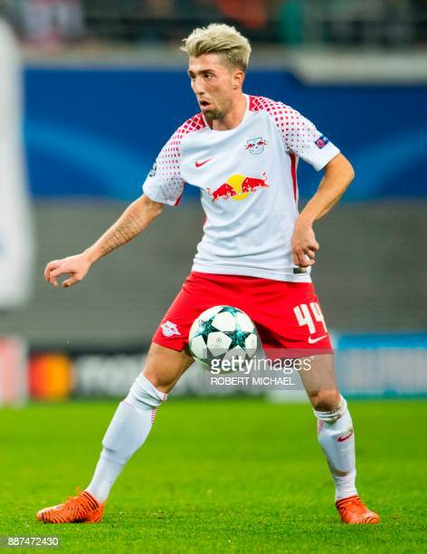 Leipzig´s Slovenian midfielder Kevin Kampl plays the ball during the UEFA Champions League group G football match RB Leipzig vs Besiktas in Leipzig...