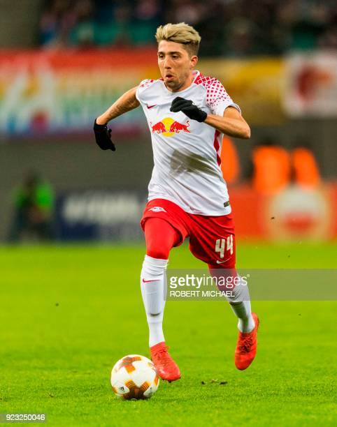 Leipzig's Slovenian midfielder Kevin Kampl plays the ball during the UEFA Europa League football match between SSC Napoli and RB Leipzig on February...