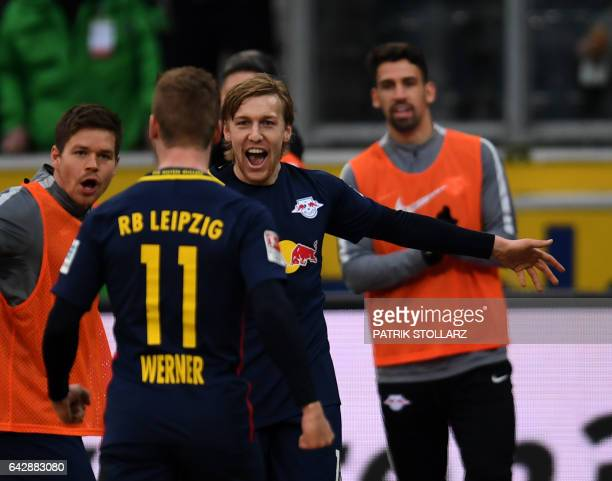 Leipzig´s striker Timo Werner celebrates scoring the 02 goal with his teammates during the German first division Bundesliga football match Borussia...