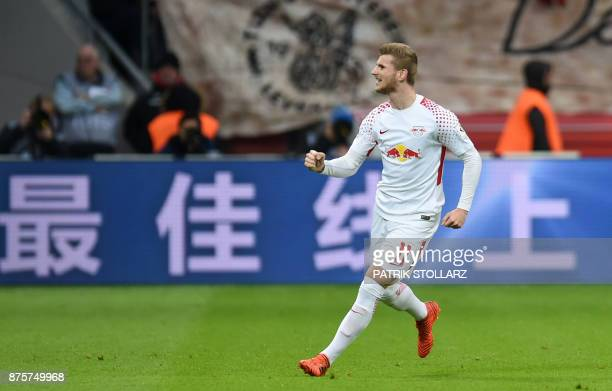 Leipzig´s striker Timo Werner celebrates scoring with a penalty during the German First Division Bundesliga football match Bayer Leverkusen vs RB...