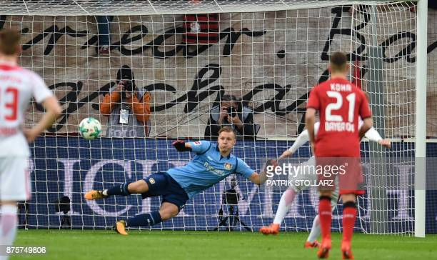 Leipzig´s striker Timo Werner scores with a penalty past Leverkusen´s goalkeeper Bernd Leno during the German First Division Bundesliga football...