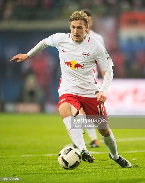 Leipzig´s Swedish forward Emil Forsberg plays during the German first division Bundesliga football match between RB Leipzig and Hertha BSC Berlin in...