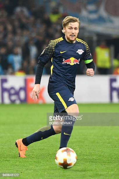 Leipzig's Swedish midfielder Emil Forsberg runs for the ball during the Europa League quarter final second leg football match between Olympique de...