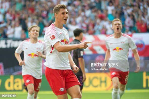 Leipzig's Willi Orban celebrating after his scoring of the 21 during the RB Leipzig vs SC Freiburg Bundesliga match in the Red Bull Arena in Leipzig...
