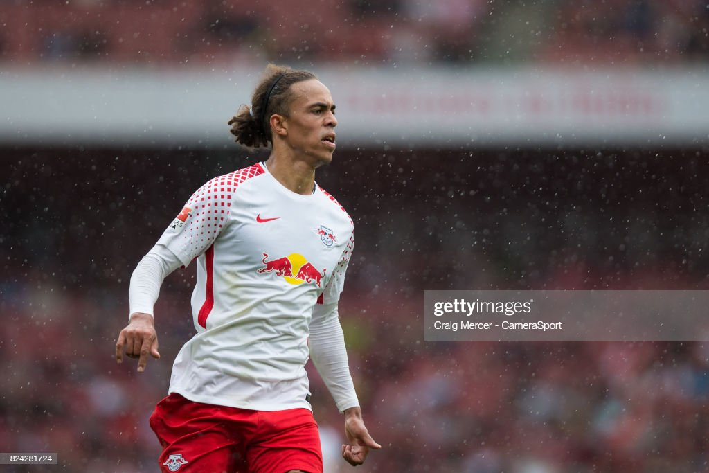 RB Leipzig's Yussuf Poulsen during the Emirates Cup match between RB Leipzig and Sevilla FC at Emirates Stadium on July 29, 2017 in London, England.