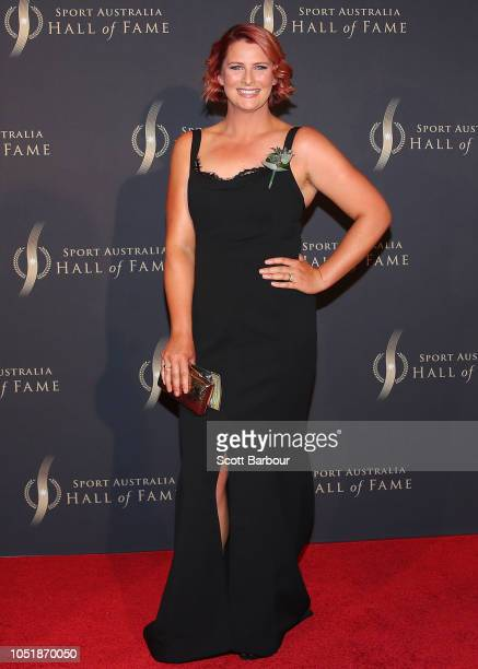 Leisel Jones arrives at the 2018 Sport Australia Hall of Fame Annual Induction and Awards Gala Dinner at Crown Palladium on October 11, 2018 in...