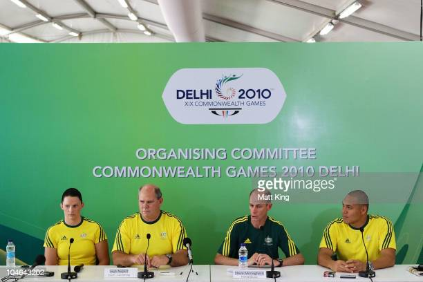 Leisel Jones, Australian Swim Team head coach Leigh Nugent, Australian team chef de mission Steve Moneghetti and Geoff Heugill speak to the media...
