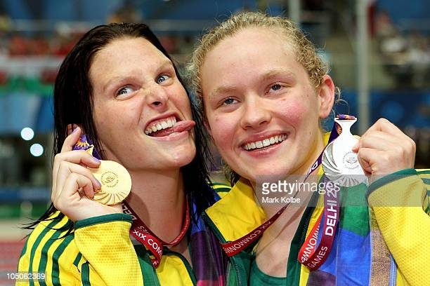 Leisel Jones of Australia and Samantha Marshall of Australia pose during the medal ceremony for the Women's 100m Breaststroke Final at Dr. S.P....