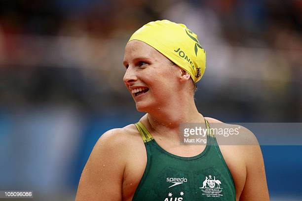 Leisel Jones of Australia celebrates finishing the Women's 4x100m Medley Relay Final in first place and wins the gold medal at Dr. S.P. Mukherjee...