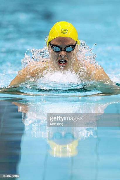 Leisel Jones of Australia competes in the Women's 200m Breaststroke Final at the Dr. S.P. Mukherjee Aquatics Complex during day three of the Delhi...