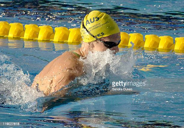 Leisel Jones of Australia in lane 4 in her World Record swim in the Women's 200 Meter Breastroke Final in the XI World Aquatic Championships in...