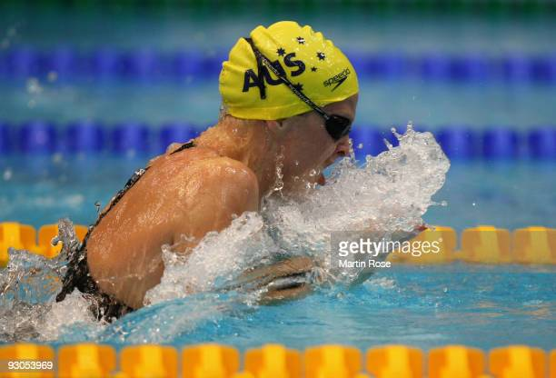 Leisel Jones of Australia is seen in action during the women's 100m breaststroke final during day one of the FINA/ARENA Swimming World Cup on...