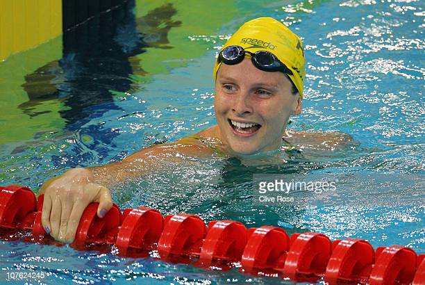 Leisel Jones of Australia looks on after her Women's 100m Individual Medley heat on day two of the 10th FINA World Swimming Championships at the...