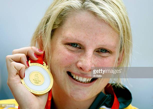 Leisel Jones of Australia poses with the gold medal during the medal ceremony for the Women's 100m Breaststroke held at the National Aquatics Center...