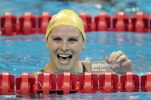 Leisel Jones of Australia smiles after winning the silver medal in the Women's 100m Breaststroke Final during Day Eleven of the 14th FINA World...