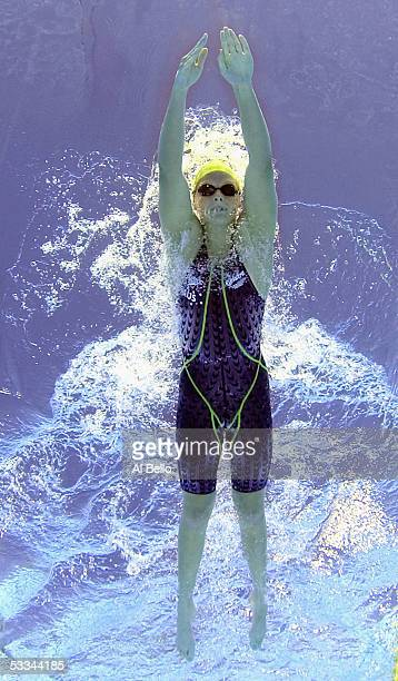 Leisel Jones of Australia swims in the 200 meter Breaststroke heats at the XI FINA World Championships at the Parc JeanDrapeau on July 25 2005 in...