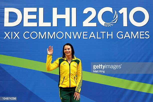Leisel Jones of Australia thanks the crowd prior to receiving the gold medal during the medal ceremony for the Women's 200m Breaststroke Final at the...