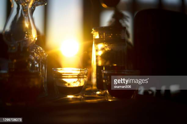 leisure day with good black tea in the morning - steeping stock pictures, royalty-free photos & images