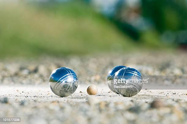 Leisure; Petanque balls close to the goal