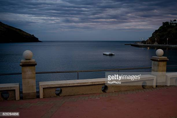 A leisure platform is seen on Mediterranean Sea from the promenade of Portbou on 3rd september Spain Portbou is the last Spanish seaside town before...
