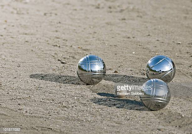leisure; three metal balls - basslabbers, bastiaan slabbers stock pictures, royalty-free photos & images