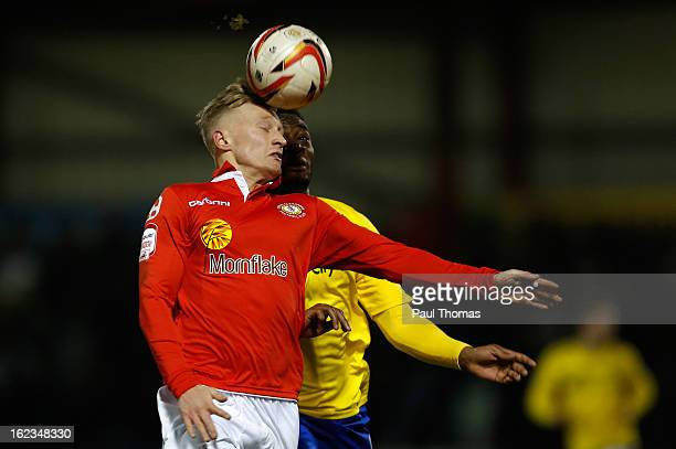 LeitchSmith of Crewe in action with Nathan Cameron of Coventry during the Johnstone's Paint Trophy Northern Section Final Second Leg match between...